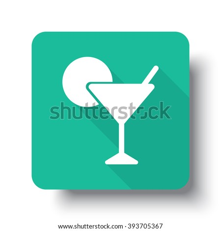 Flat white Cocktail web icon on green button with drop shadow