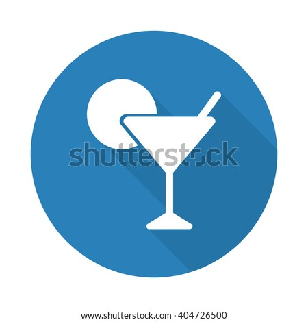 Flat white Cocktail web icon with long drop shadow on blue circle