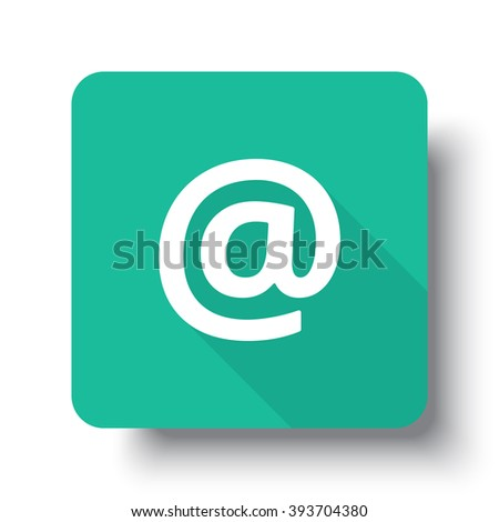 Flat white E-Mail web icon on green button with drop shadow - stock vector