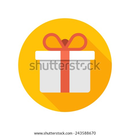 Flat White Gift Box Present with Red Bow icon design and long shadow vector illustration for website and promotion banners.  - stock vector