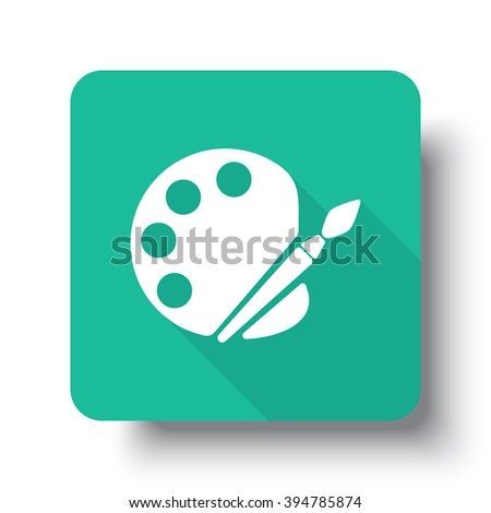Flat white Palette web icon on green button with drop shadow