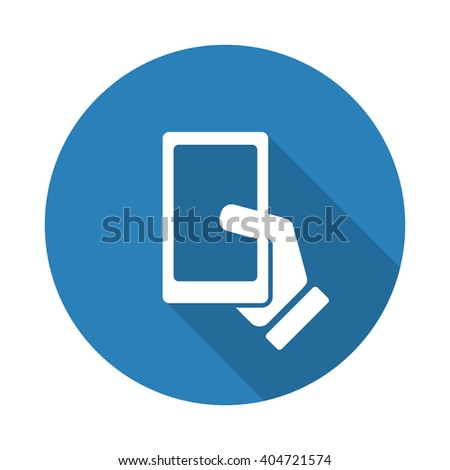 Flat white Smartphone  web icon with long drop shadow on blue circle - stock vector