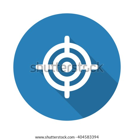 Flat white Target web icon with long drop shadow on blue circle - stock vector