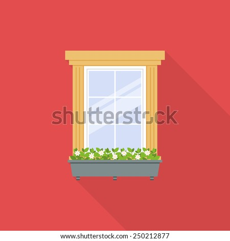 Flat window with flowerpot isolated on red background. Vector illustration