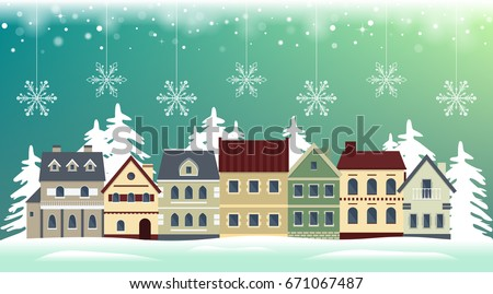 Flat winter cityscape. Snowy city, town or village with falling snow. Urban landscape. Vector illustration.