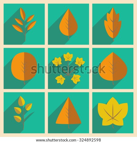 Flat with shadow concept and mobile application leaves  - stock vector