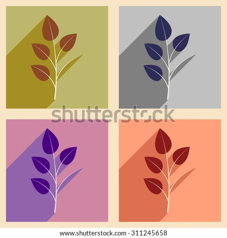 Flat with shadow concept and mobile application leaves branch  - stock vector