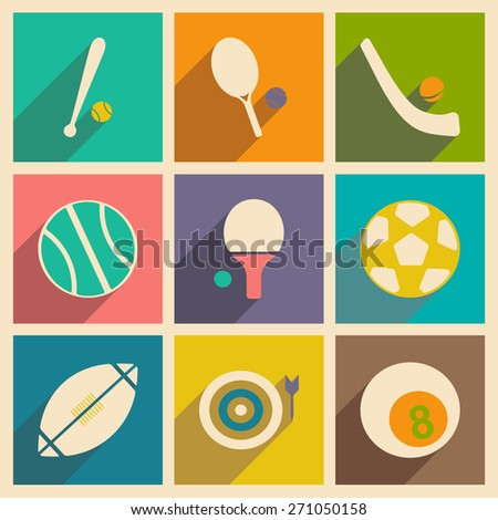 Flat with shadow concept and mobile application sports icons  - stock vector