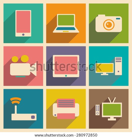 Flat with shadow concept and mobile application technology icons  - stock vector