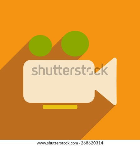Flat with shadow icon and mobile applacation video camera - stock vector