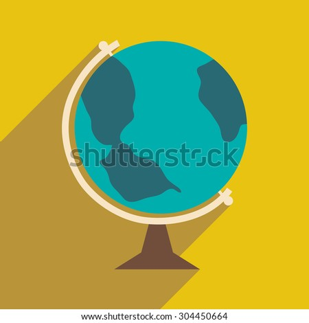 Flat with shadow icon and mobile application globe icon  - stock vector