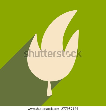 Flat with shadow icon and mobile application leaves tree   - stock vector