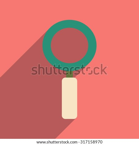 Flat with shadow icon and mobile application magnifying glass - stock vector