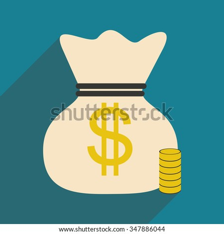 Flat with shadow icon money bag and coins  - stock vector