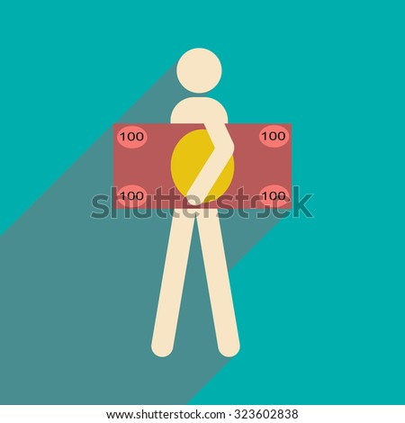 Flat with shadow icon People and dollar  - stock vector