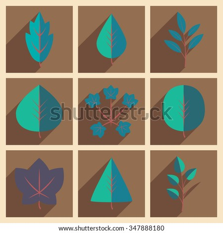 Flat with shadow icons leaves  - stock vector