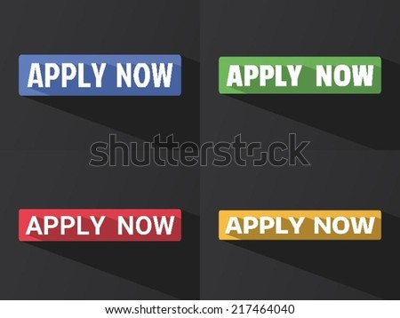 """Flat word """"APPLY NOW"""" with long shadow in different colors and fonts. Vector illustration - stock vector"""