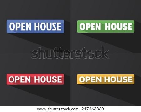 Flat Word OPEN HOUSE Long Shadow Stock Vector 217463860 Shutterstock