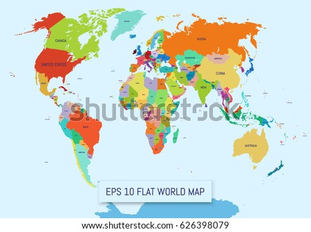 Flat world map divided into editable stock photo photo vector flat world map divided into editable contours of countries country names template for your gumiabroncs Images