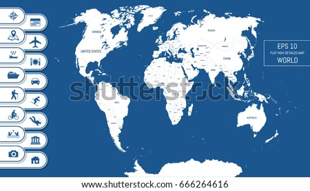 Flat world map divided into editable stock vector 666264616 flat world map divided into editable contours of countries country names vacation and gumiabroncs Images