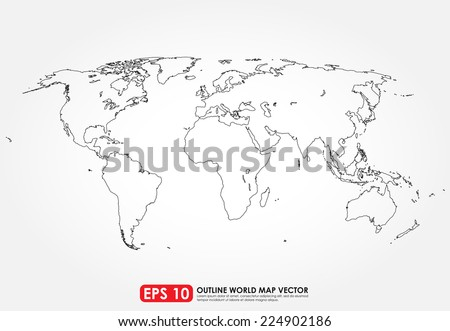 Flat world map outline stock vector 224902186 shutterstock flat world map outline gumiabroncs Image collections