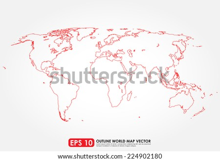 Flat world map outline in red color - stock vector