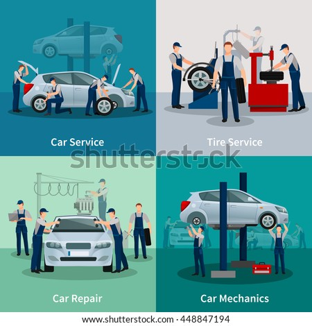 Flat 2x2 compositions presenting work process in car and tire services car repair and car mechanics vector illustration - stock vector