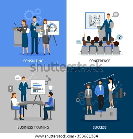 Flat 2x2 images set of business education by consultating conference business training and success vector illustration - stock vector