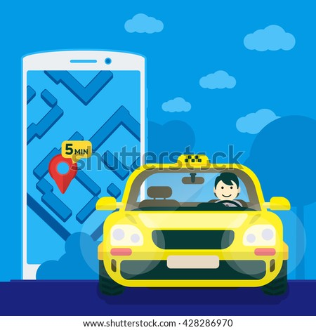 Flat yellow taxi with a driver traveling on the road. car front view. Flat mobile phone with a label on the map. Application for taxi online. Vector clipart graphics - stock vector