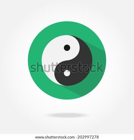 Flat yin yang icon. - stock vector