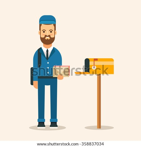 Flat Young Postman with Letters Standing Near the Mailbox. Vector Illustration - stock vector