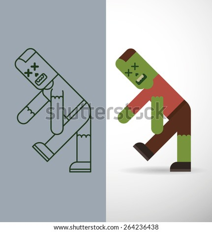 Flat zombie and Line Zombie, vector  - stock vector