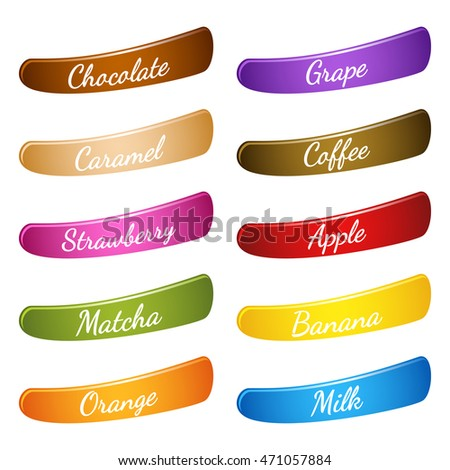 Flavor Icon Set Label Description On Stock Vector 471057884