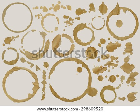 Flavored coffee stains set. Vector image can be used for restaurant and cafe menu design, food posters, paper design, print cards and other crafts. - stock vector