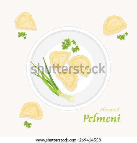 Flavored pelmeni. Label for menu design. Vector - stock vector