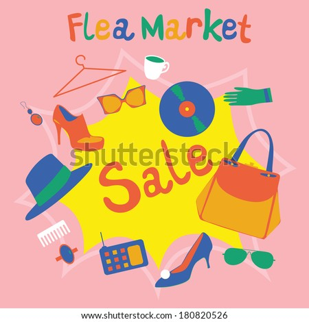 Flea Market Composition Stock Vector Hd Royalty Free 180820526
