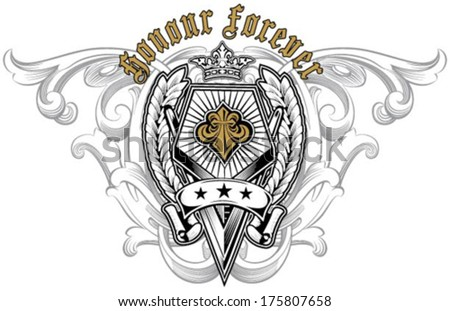 fleur de lis design with background for t-shirt - stock vector