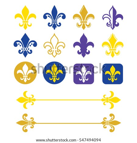 Fleur de lis - French symbol gold and navy blue design, Scouting organizations, French heralry