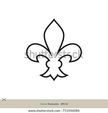 fleur de lis icon vector logo stock vector 751046086 shutterstock