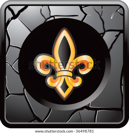fleur de lis on cracked web icon - stock vector