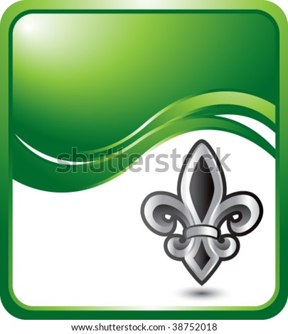 fleur de lis on green wave background - stock vector