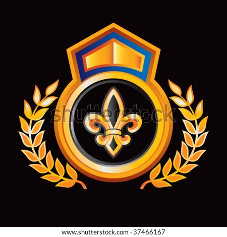 fleur de lis on orange royal crest - stock vector