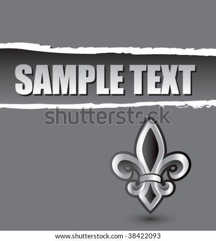 fleur de lis on silver ripped banner - stock vector