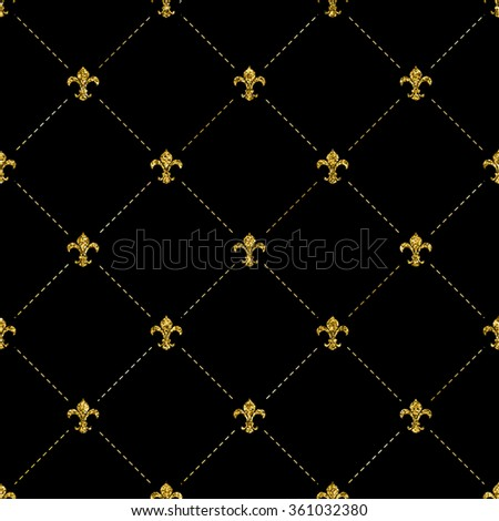 Fleur-de-lis repeated background, on black backdrop, with golden glitter effect. Vector illustration. Can be used as seamless pattern. - stock vector