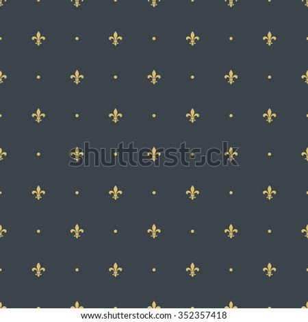 fleur-de-lis royal, luxury seamless pattern background. with golden heraldic symbol fleur-de-lis and polka dots ornament. vector illustration - stock vector