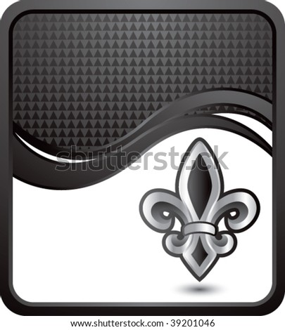 fleur de lis symbol on black checkered wave background - stock vector