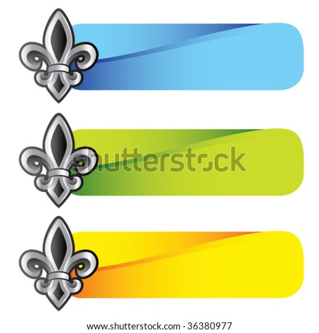 fleur de lis symbol on colored tabs - stock vector