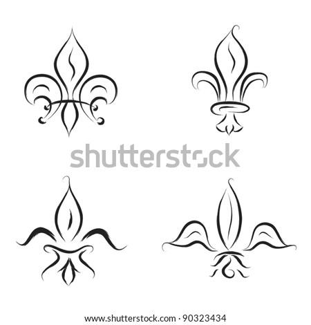 fleur de lys sketch illustration - stock vector