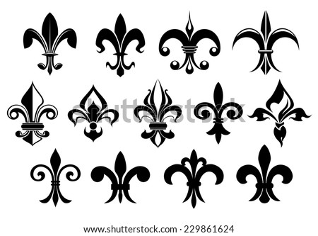 Fleur de lys vintage design elements or icons in black and white suitable for heraldry and classic decor designs in various shapes, vector illustration on white - stock vector