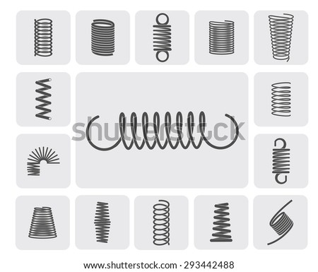 Flexible metal spiral springs flat icons set isolated vector illustration - stock vector